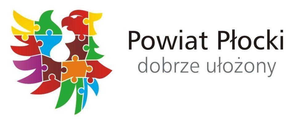 Logo Powiatu Płockiego - napis Powiat Płocki dobrze ułożony