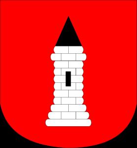 Herb Drobina - baszta kamienna srebrna w czerwonym polu z jednym oknem i szczytem czarnym. Kształt tarczy herbowej – tarcza o dolnej krawędzi zaokrąglonej