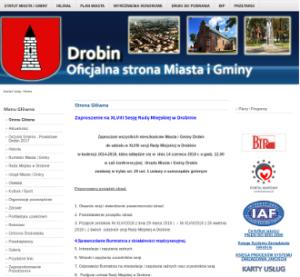 Zdjęcie starej strony Urzędu. Kliknięcie powoduje przekierowanie do niej na adres old.drobin.pl