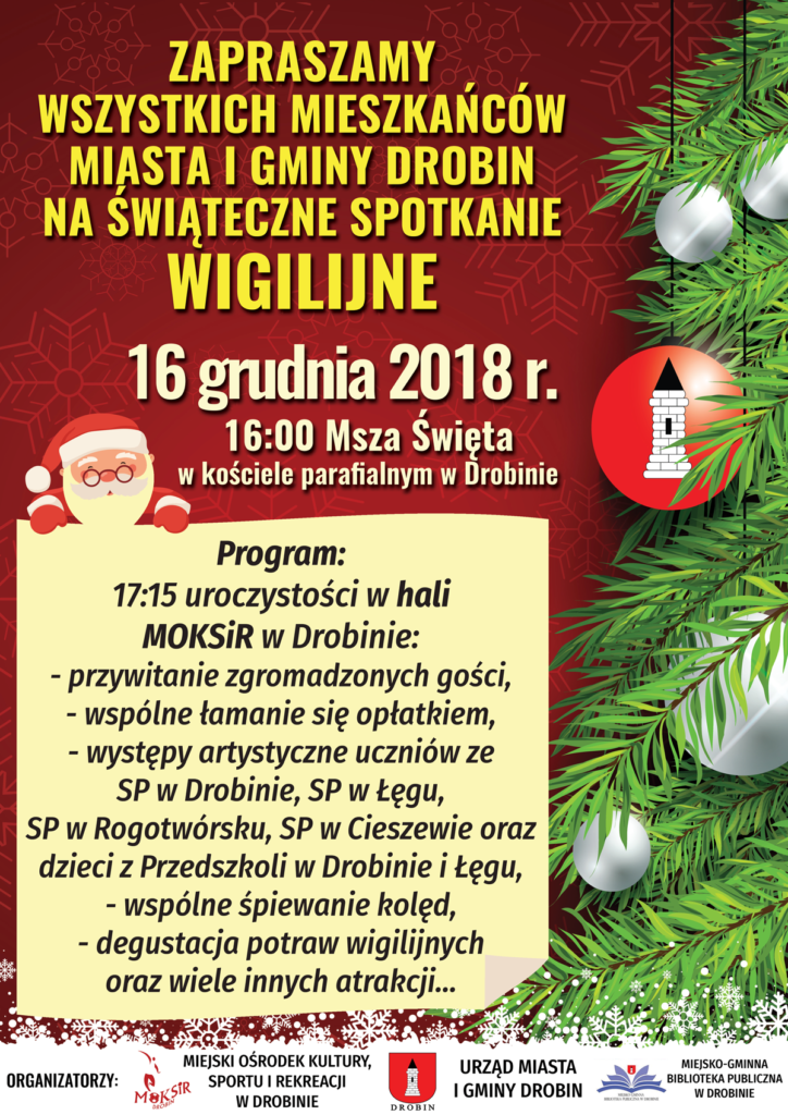 Plakat zapraszający na spotkanie Wigilijne 16 grudnia 2018.